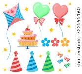 celebratory set. birthday party.... | Shutterstock .eps vector #722595160