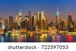 view on manhattan at night  new ...   Shutterstock . vector #722597053