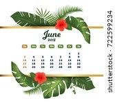june 2018. tropical printable... | Shutterstock .eps vector #722599234