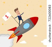 happy businessman holding...   Shutterstock .eps vector #722600083