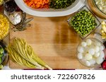 fresh vegetables on a table ... | Shutterstock . vector #722607826