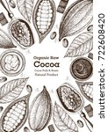 cocoa products frame vector...   Shutterstock .eps vector #722608420