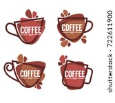 coffee shop logo. vector... | Shutterstock .eps vector #722611900