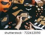 halloween preparation. hands... | Shutterstock . vector #722612050