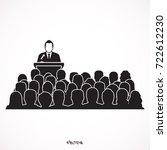 orator speaking from tribune.... | Shutterstock .eps vector #722612230