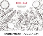grill and bar menu design... | Shutterstock .eps vector #722614624