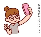 cute cartoon hipster girl with... | Shutterstock .eps vector #722615458