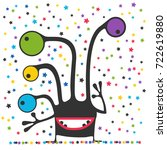 cute monster is looking at... | Shutterstock .eps vector #722619880