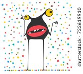 cute monster is looking at... | Shutterstock .eps vector #722619910