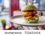 homemade hamburger with green... | Shutterstock . vector #722621416