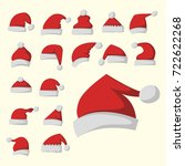 santa claus fashion red hat... | Shutterstock .eps vector #722622268