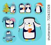 penguin christmas vector...   Shutterstock .eps vector #722622328