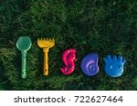children's colorful toys on a... | Shutterstock . vector #722627464