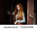 beautiful young ginger woman... | Shutterstock . vector #722632408