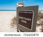 a wooden sign post at ningaloo... | Shutterstock . vector #722632870