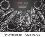 grill and bar menu design... | Shutterstock .eps vector #722640739