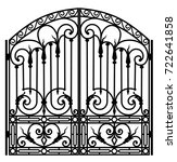 black metal gate with forged... | Shutterstock . vector #722641858