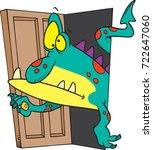 cartoon monster opening up a... | Shutterstock .eps vector #722647060