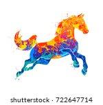 Stock vector galloping horse abstract 722647714
