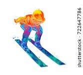 jumping skier sport | Shutterstock .eps vector #722647786