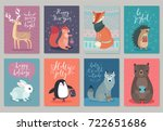 christmas animals card set ... | Shutterstock .eps vector #722651686