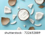 composition with fresh coconut... | Shutterstock . vector #722652889