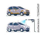 car wash service concept. ... | Shutterstock .eps vector #722660569