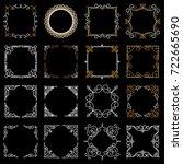 set decorative vintage frames... | Shutterstock .eps vector #722665690