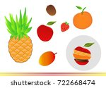 set of fresh mixed fruits icons ... | Shutterstock .eps vector #722668474