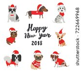 greeting card for 2018. happy... | Shutterstock .eps vector #722669968