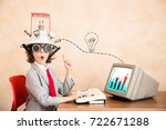 child pretend to be businessman.... | Shutterstock . vector #722671288