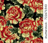 vector embroidery with roses.... | Shutterstock .eps vector #722671543