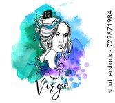 virgo. zodiac signs girl | Shutterstock .eps vector #722671984