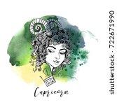 capricorn. zodiac signs girl | Shutterstock .eps vector #722671990