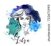 libra. zodiac signs girl | Shutterstock .eps vector #722671993