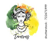 taurus. zodiac signs girl | Shutterstock .eps vector #722671999