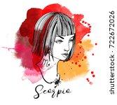 scorpio. zodiac signs girl | Shutterstock .eps vector #722672026