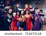 six friends in costume cine... | Shutterstock . vector #722673118