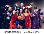 halloween party. six friends in ... | Shutterstock . vector #722673193