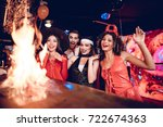 flaming cocktail on the bar. a... | Shutterstock . vector #722674363