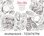 grill and bar menu design... | Shutterstock .eps vector #722676796