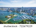 Aerial image of Stanley Park, Coal Harbor and Vancouver, BC, Canada - stock photo