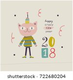 happy new year cute card.   Shutterstock .eps vector #722680204