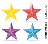 Four Colors Stars. Yellow  Red...