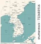korean peninsula map   vintage... | Shutterstock .eps vector #722683516
