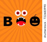 word boo text with smiling sad... | Shutterstock .eps vector #722683990