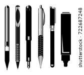 set of high detailed pens.... | Shutterstock .eps vector #722687248
