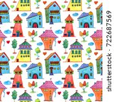 watercolor baby seamless... | Shutterstock . vector #722687569