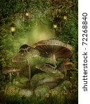 Enchanted Forest With Mushroom...