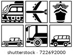 black and white square icons of